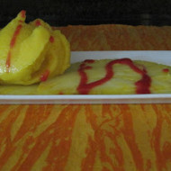 Mango Sorbet over Pineapple Carpacchio