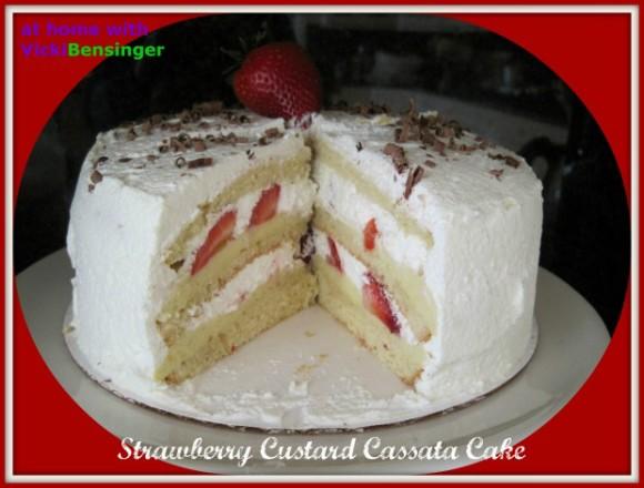Strawberry Custard Cassata Cake – At Home with Vicki Bensinger