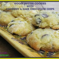 Gooey Butter Cookies with Coconut and Dark Chocolate Chips
