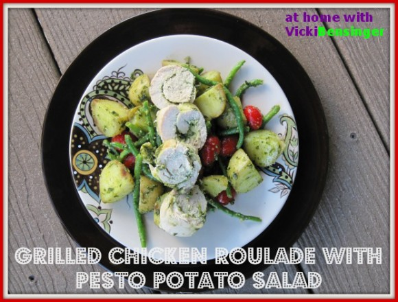 Grilled Chicken Roulade with Pesto Potato Salad