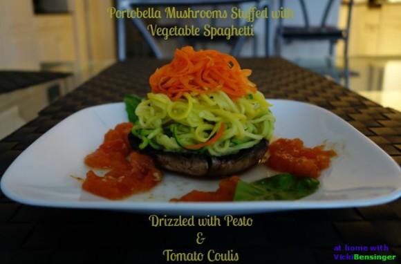 Portobella Mushrooms Stuffed with Vegetable Spaghetti