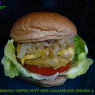 Quinoa Burgers Topped with Beer Caramelized Onions & Cheddar