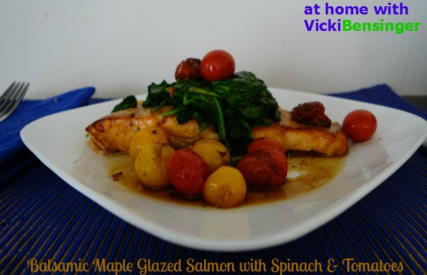 Balsamic Maple Glazed Salmon with Spinach & Tomatoes