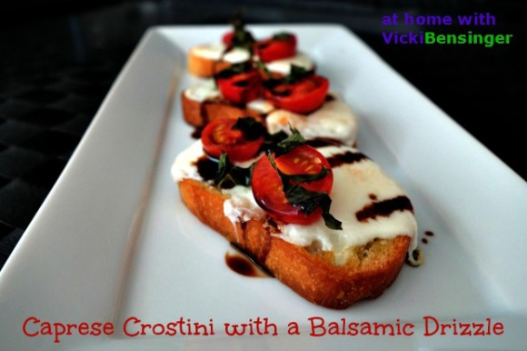 Caprese Crostini with a Balsamic Drizzle