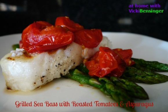 Grilled Sea Bass with Roasted Tomatoes & Asparagus