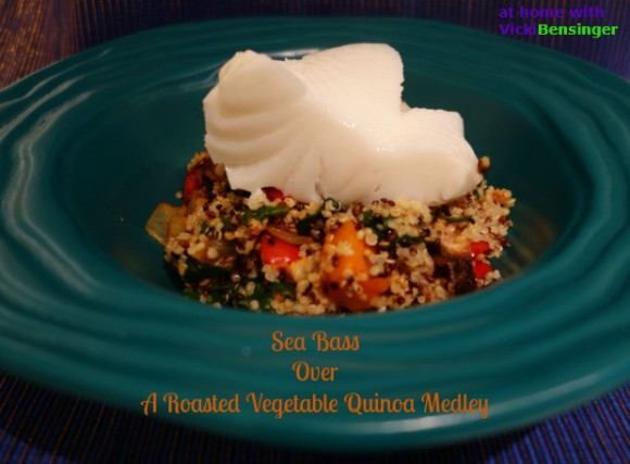 Sea Bass Over A Roasted Vegetable Quinoa Medley
