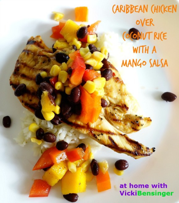 Caribbean Chicken over Coconut Rice with a Mango Salsa