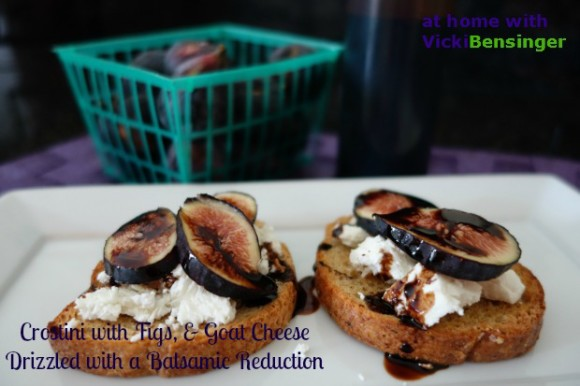 Crostini with Figs, and Goat Cheese Drizzled with a Balsamic Reduction