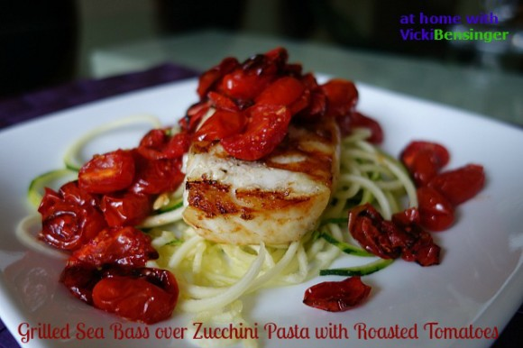 Grilled Sea Bass over Zucchini Pasta