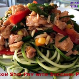 Salmon Stir-Fry with Zucchini Pasta