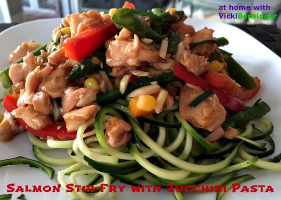 Salmon Stir-Fry with Zucchini Pasta
