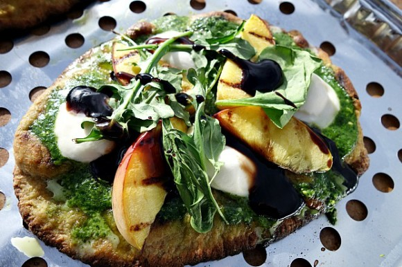 Grilled Peaches & Spinach Pesto Pizza