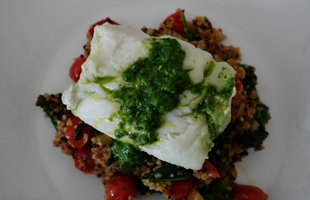 Roasted Grouper Roulade with Spinach Pesto over Quinoa