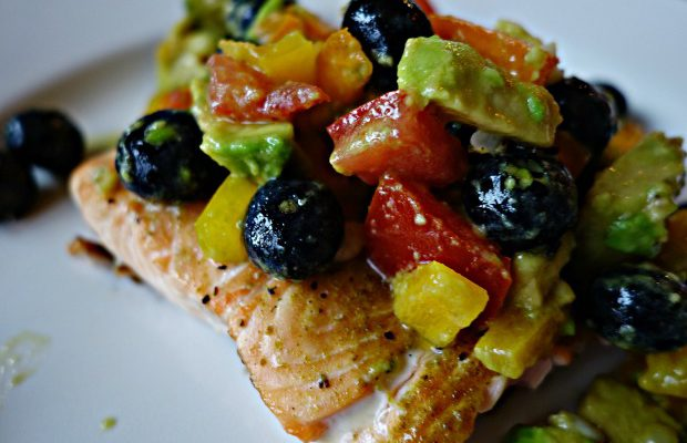 Grilled Salmon with Blueberry Corn Salsa