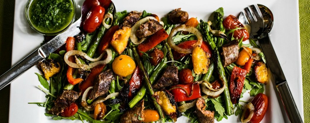 Grilled Vegetable & Chorizo Salad with Chimichurri