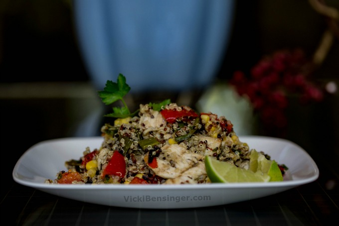 Southwest Chicken & Quinoa Salad with grilled bell & pablano peppers, & corn