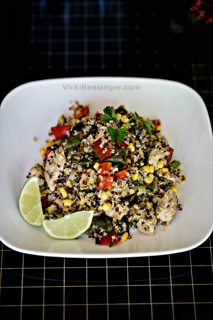 Southwest Chicken & Quinoa Salad with grilled vegetables