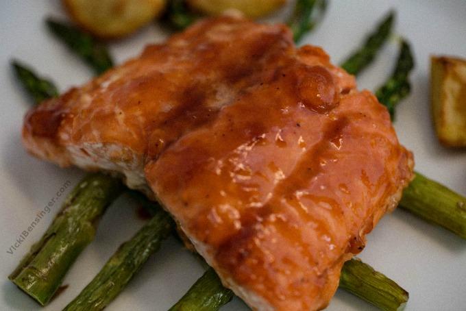 BBQ Glazed Salmon over Roasted Asparagus & Yukon Gold Potatoes