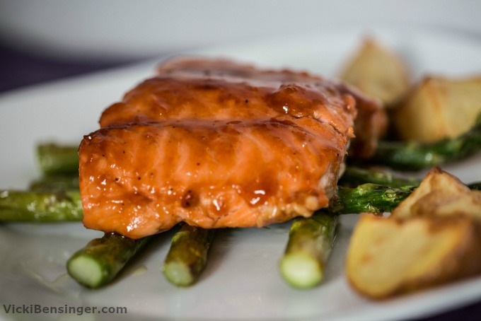 BBQ Glazed Salmon over Roasted Asparagus & Yukon Gold Potatoes