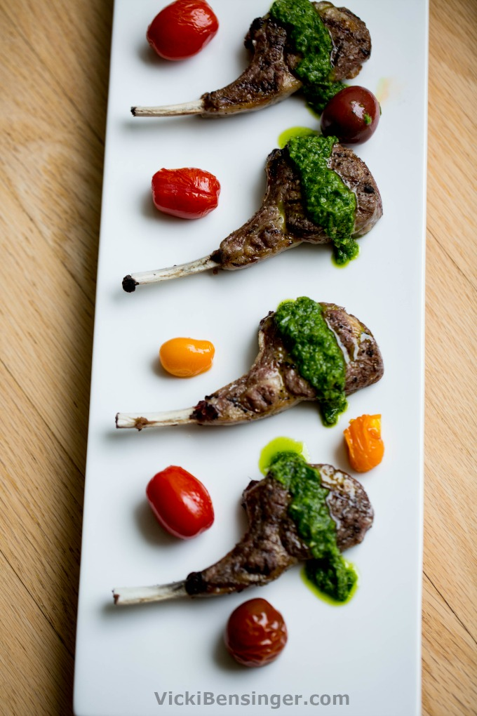 Grilled Lamb Chops with Fresh Mint Sauce