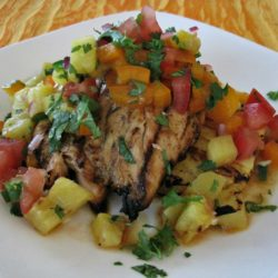 Tequila Lime Chicken with Grilled Pineapple Salsa