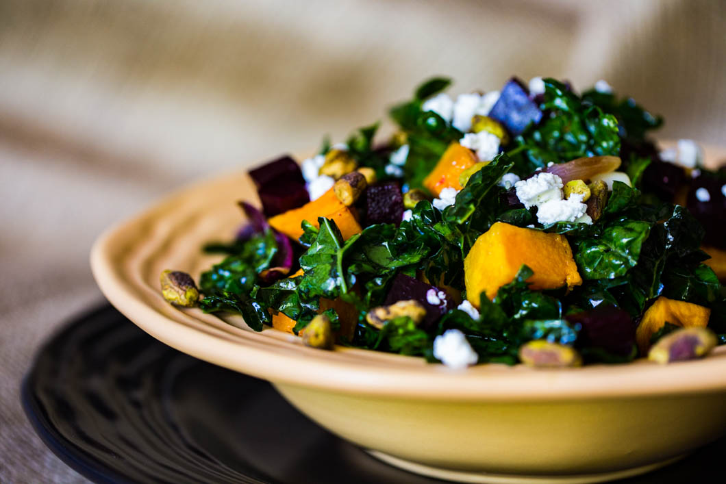 Tuscan Kale Salad with Roasted Butternut Squash & Beets ...