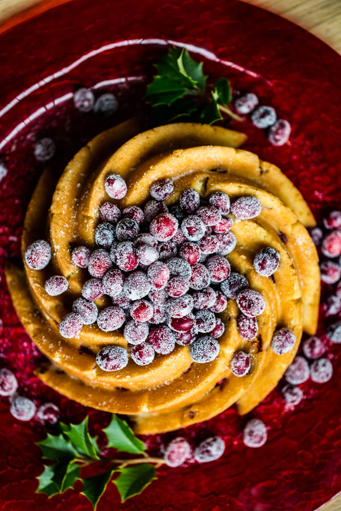 Holiday Bundt Cake with Sugared Cranberries
