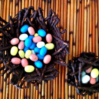 Chocolate Pretzel Easter Basket filled with Pastel Candy Eggs