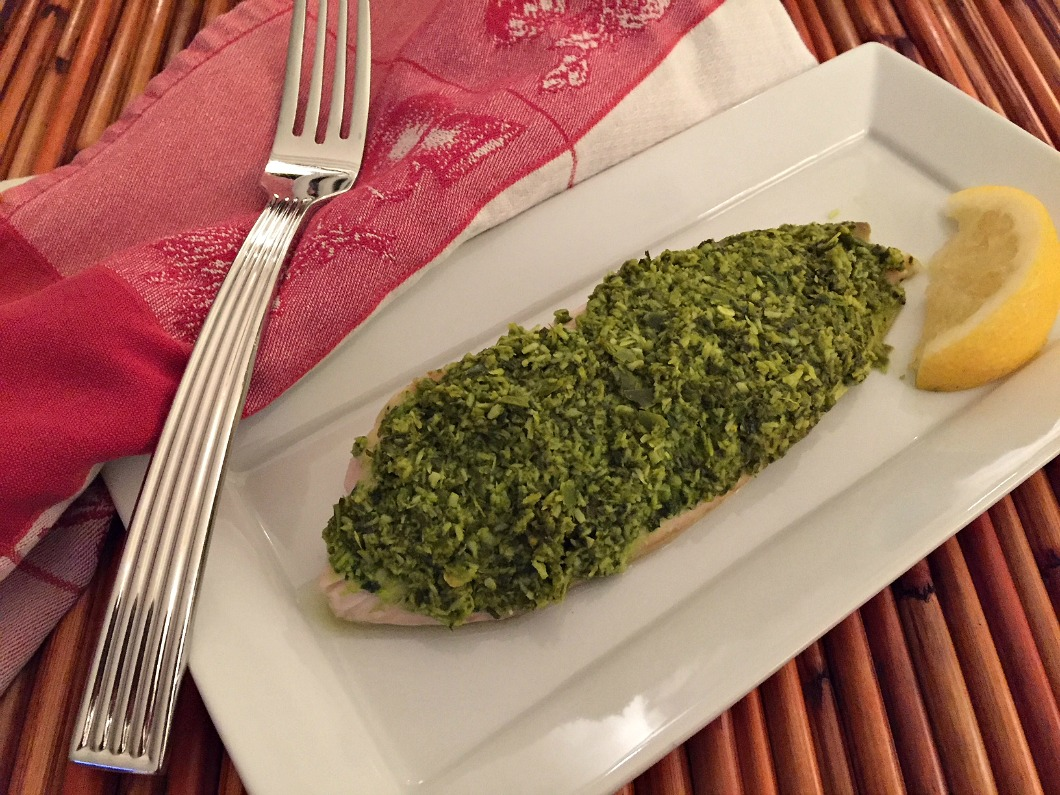 Baked Tilapia with Green Chutney