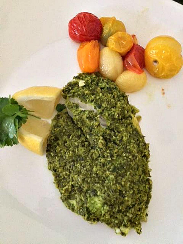 BAked Tilapia with Green Chutney