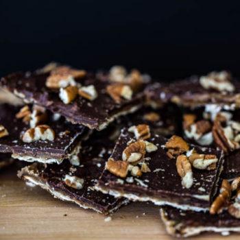 Matzo with Toffee, Chocolate, Pecans and Sea Salt makes Matzo Crack