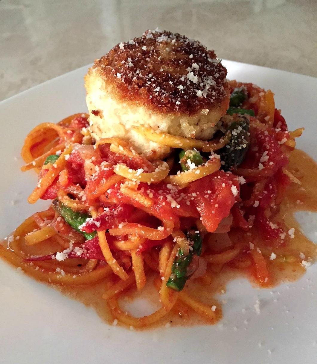 Butternut Squash Spaghetti Fresh Tomato Sauce & Asparagus