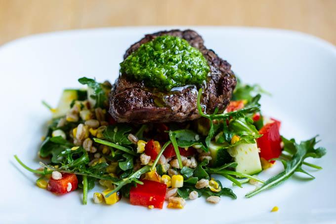 Grilled Beef Tenderloin with Chimichurri & Farro Salad