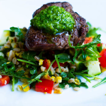 Grilled Beef Tenderloin with Chimichurri & Farro Salad