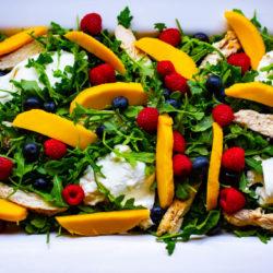 Arugula, Fresh Fruit, Buratta, and Grilled Chicken Salad