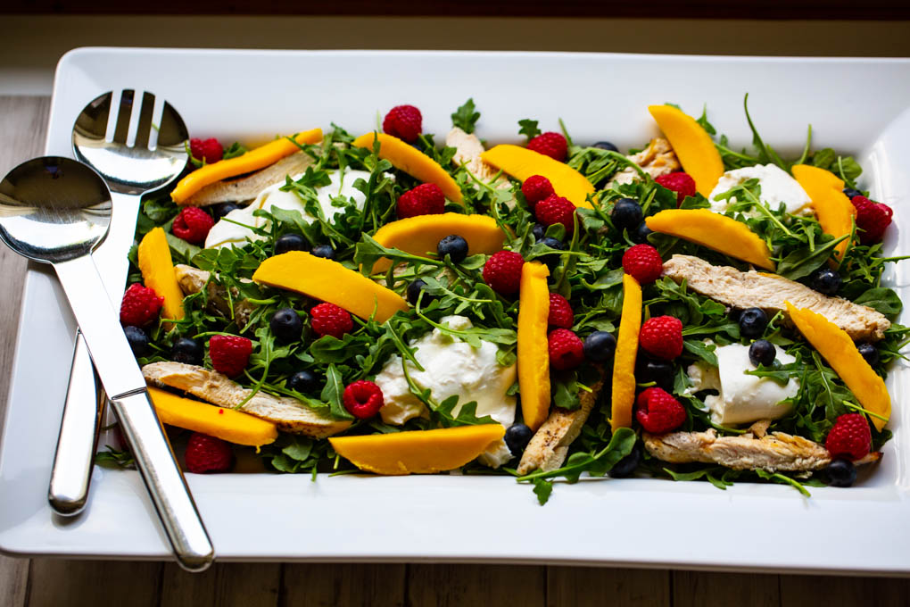 Arugula, Fresh Fruit, Buratta & Grilled Chicken Salad