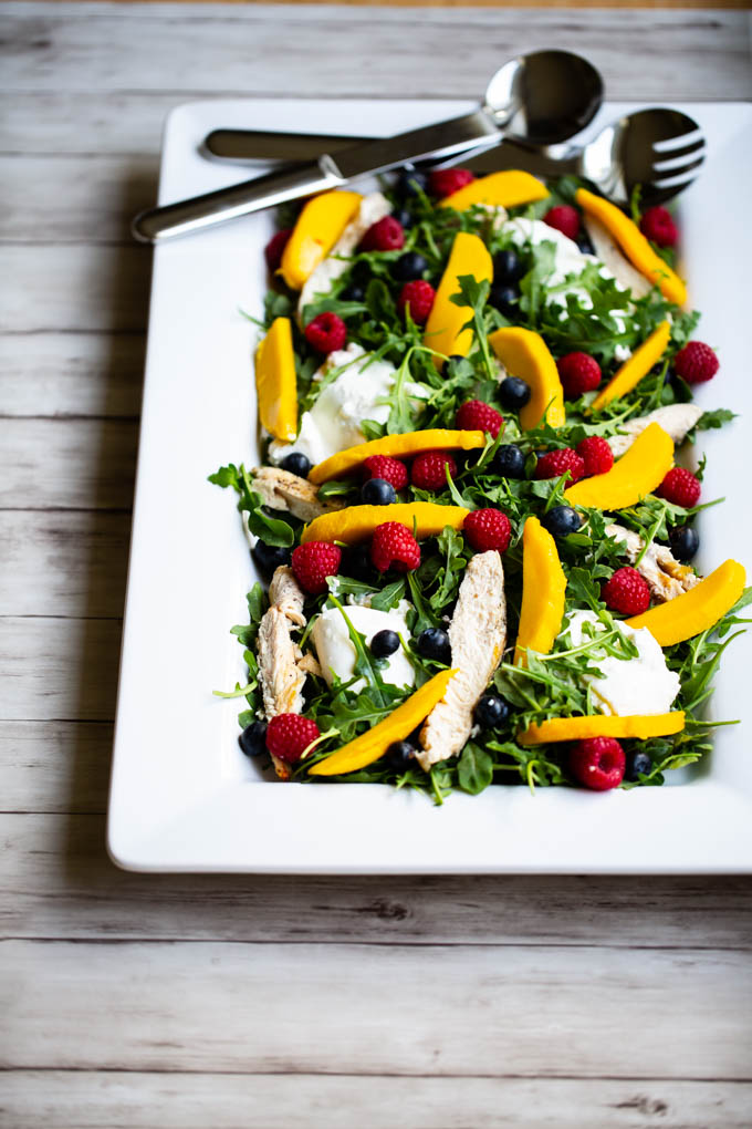 Arugula, Fresh Fruit, Buratta & Grilled Chicken Salad-