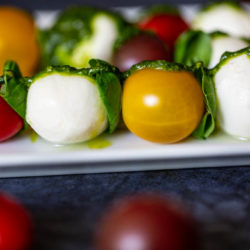 Caprese Kebobs with Basil Pesto