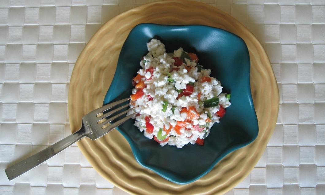 Cottage Cheese with Carrots, Celery, Scallions, Bell Peppers