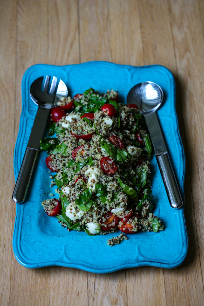 Caprese Quinoa Salad with fresh mozzarella, baby tomatoes, spinach & basil pesto