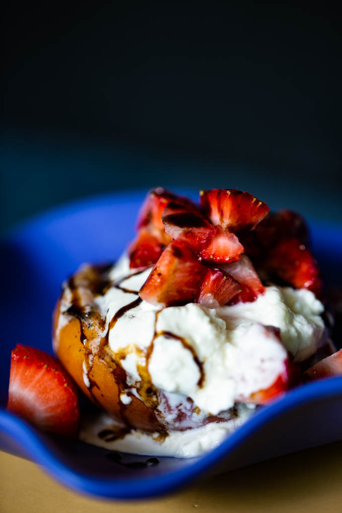 Grilled Peach Salad with Burrata Cheese, Strawberries with a Balsamic Drizzle