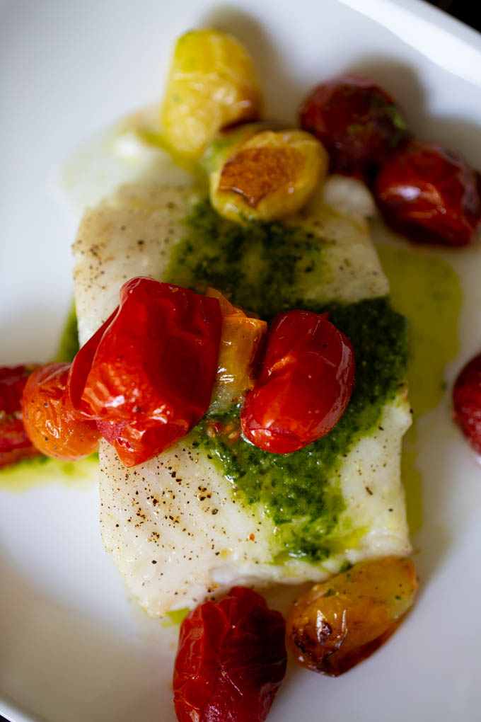 Grilled Sea Bass with Pesto & Roasted Tomatoes