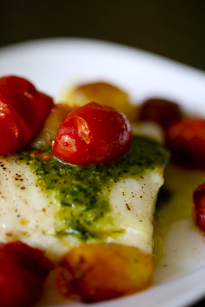 Grilled Sea Bass with Pesto & Roasted Tomatoes-