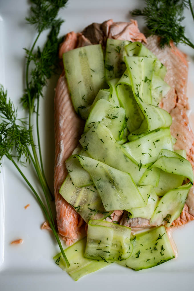 Poached Salmon with Cucumber Ribbons
