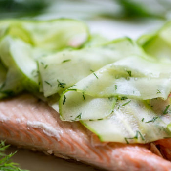 Poached Salmon with Cucumber Ribbons-