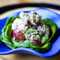 Skinny Napa Tuna Salad with Grapes,Celery, Dried Cranberries, & Scallions