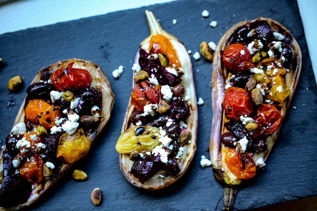 Grilled Eggplant Bruschetta with Roasted Heirloom Tomatoes & Beets, goat cheese & balsamic reduction