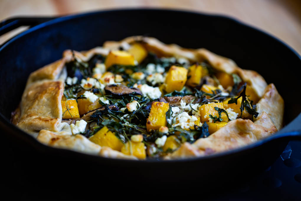 Autumn Savory Galette with Shiitake Mushroom, Butternut Squash, Tomato Jam with Gruyere & Goat Cheese