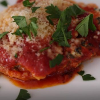 Layers of Ravioli with Spinach Ricotta Mixture with Pasta Sauce