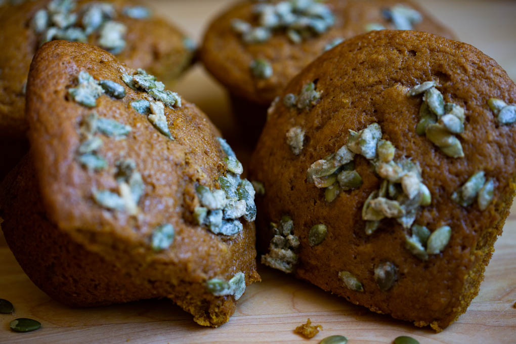 Pumpkin Muffins with Candied Pepitas